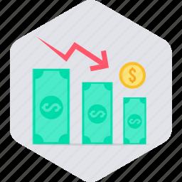 dollar, down, money, revenue, sales, sales down, value icon