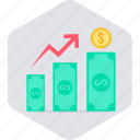 currency, earning, earnings, growth, money, up, value icon