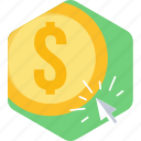 cash, click, online, pay, payment, ppc, seo icon