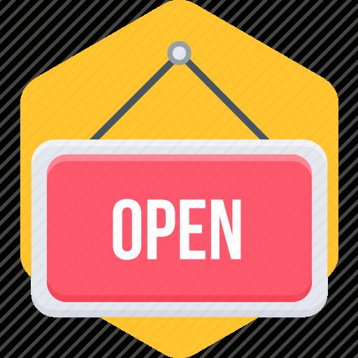 open, open board, open sign, shop, store icon