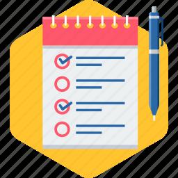 checklist, document, items, list, paper, tick, tickmark icon