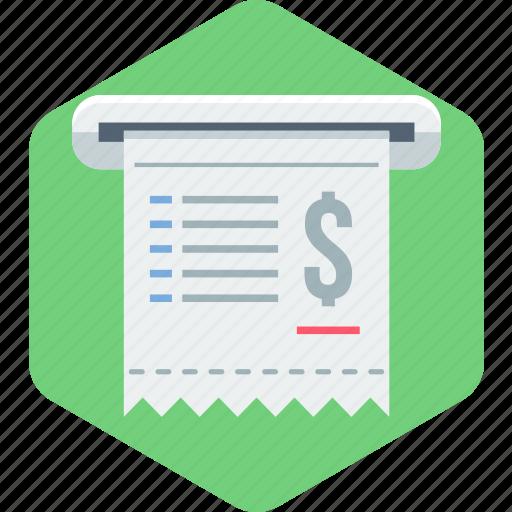 bill, document, file, invoice, page, receipt icon