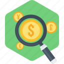 finance, find, locate, money, money making, payment, search icon