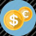 coins, bank, coin, dollar, euro, finance, money