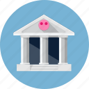 bank, building, cash, finance, money, piggy bank icon
