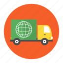 buy, courier, delivery, globe, lorry, move, shipping icon