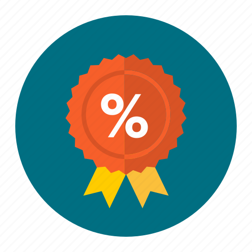 discount, less, percentage, ribbon, sale, sell, trade icon
