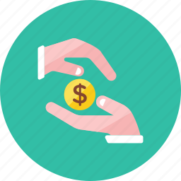 2, coin, hand icon