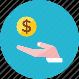 coin, hand icon