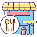 cafeteria, food court, food court icon, takeaway restaurant icon