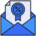 discount, document, email, envelope, letter icon