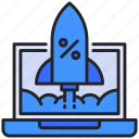 discount, laptop, launch, rocket, startup icon
