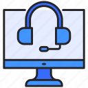customer, headphone, monitor, online, service icon