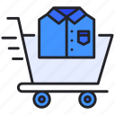 buy, cart, shirt, shopping, t, trolley icon