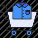 buy, cart, shirt, shopping, t, trolley