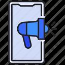 advertising, marketing, megaphone, online, smartphone