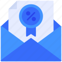 discount, email, envelope icon