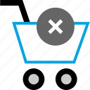cart, delete, shoppingcart, x icon