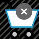 cart, delete, shoppingcart, x icon