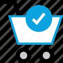 cart, checkmark, commerce, ecommerce icon