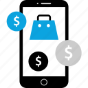 bag, dollar, mobile, sign icon