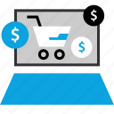 dollar, laptop, sign, web icon