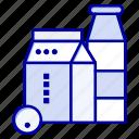 box, buttle, milk, shopping icon