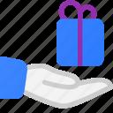 commerce, ecommerce, gift, hand, share