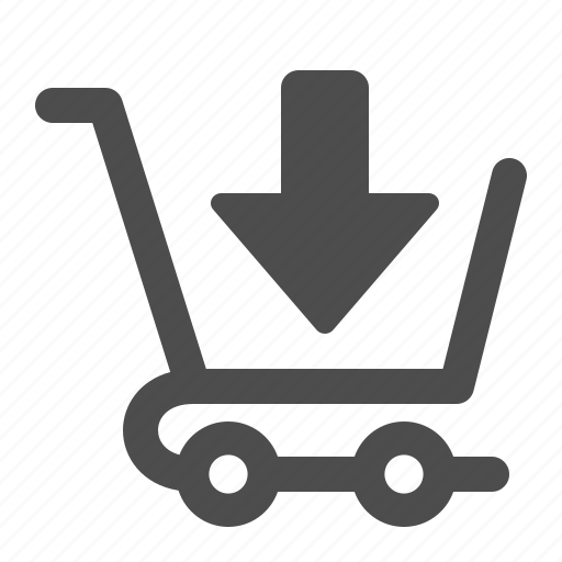 arrow, buy, cart, down, download, shopping, shopping cart icon