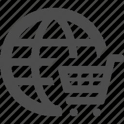 cart, e-commerce, global, globe, online, shopping icon