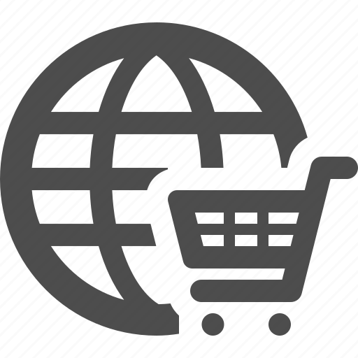 Cart, e-commerce, global, globe, online, shopping icon ...