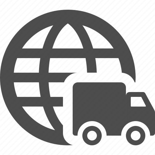 delivery, global, globe, truck icon