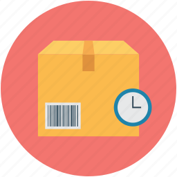 box and watch, box with watch, delivery package, delivery time, delivery timing, package with clock icon