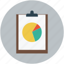 clipboard, graph, paper, pie chart, pie graph icon