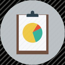 clipboard, graph, paper, pie chart, pie graph icon