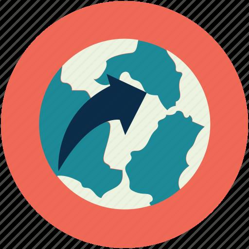 arrow around world, arrow on globe, globe, globe arrow, globe with arrow icon