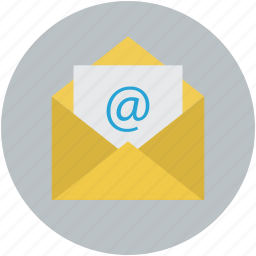 email, email message, envelope with arroba, mail message, mail open icon