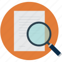 doc searching, document searching, magnifier and document, magnifier on document, search document icon