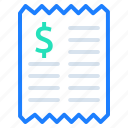 bill, dollar, invoice, payment, price, receipt icon