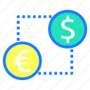 conversion, currency exchange, dollar, global currency, money exchange, value icon