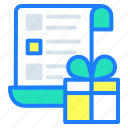 bill, gift, purchase, receipt, shopping list icon