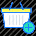 add product, buy, ecommerce, grocery basket, shopping, shopping basket icon