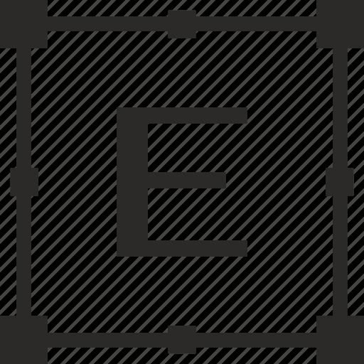 e, key, latin, letter, transform icon