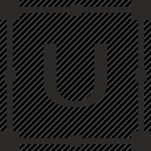 key, latin, letter, transform, u icon