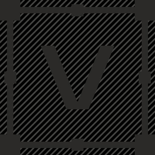 key, latin, letter, transform, v icon