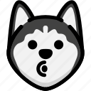 blowing, emoji, emotion, expression, face, feeling, siberian husky icon