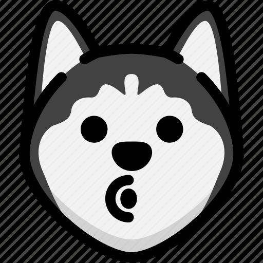 blowing, emoji, emotion, expression, face, feeling, siberian husky icon
