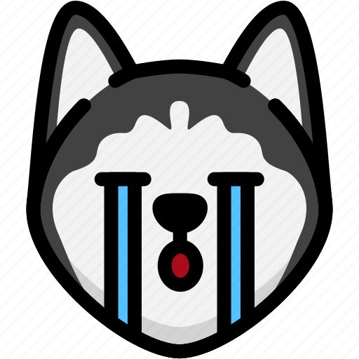 cry, emoji, emotion, expression, face, feeling, siberian husky icon