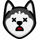 dead, emoji, emotion, expression, face, feeling, siberian husky icon