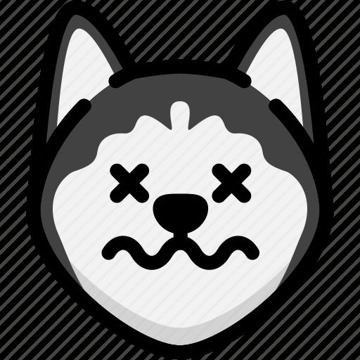 dead, emoji, emotion, expression, face, feeling, siberian husky icon
